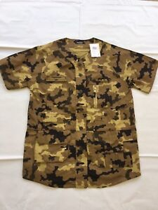 NEW-Puma-Pink-Dolphin-Camo-Tactical-Button-Up-Shirt-Men-039-s-Beige-Black-TAG-78