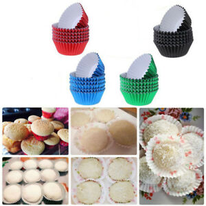 100pcs Rainbow Cake Foil Baking Paper Cups Cupcake Muffin Liners Birthday Party
