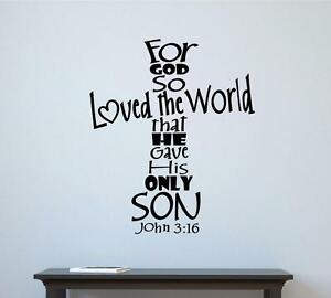 For God So Loved The World Bible Verse Vinyl Decal Wall Decor