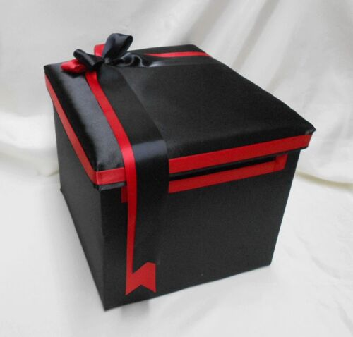 Wedding  Black Red Flower Girl Basket Ring Pillow Guest Book Pen Gift Card Box