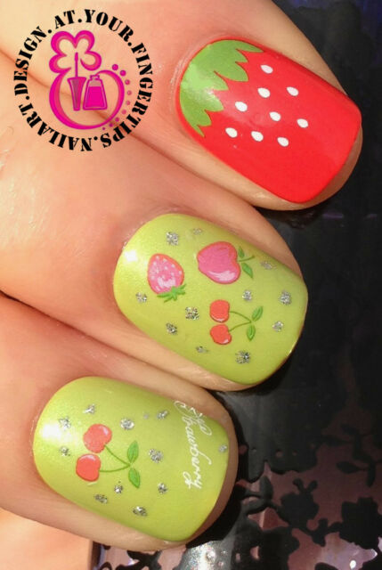 NAIL ART WRAP WATER TRANSFER DECALS STRAWBERRY CHERRY APPLE & SILVER GLITTER #1