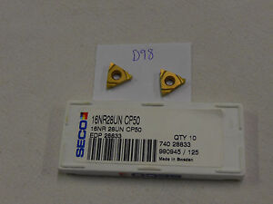 10-NEW-SECO-16-NR-28UN-THREADING-CARBIDE-INSERTS-GRADE-CP50-D98