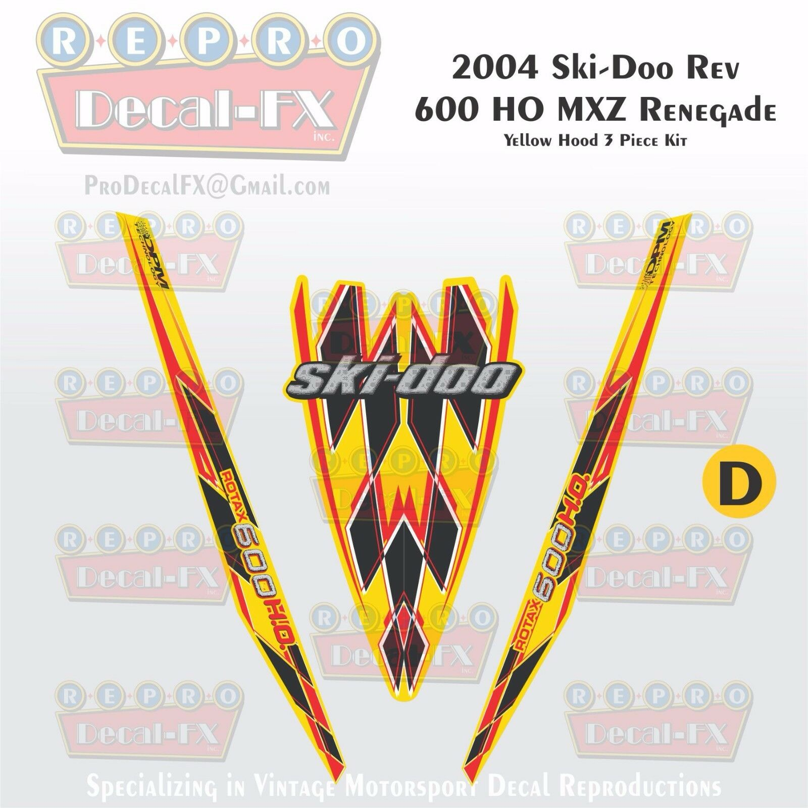 2004 Ski-doo Rev MXZ600HO Yellow  Hood Panel Reproduction Vinyl Decal Set 3Pc DPM  save up to 70%