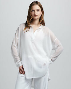 613d68b7a39aa0 Image is loading Vince-white-sheer-chiffon-silk-loose-placket-tunic-