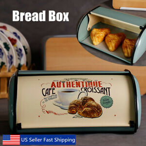 French-Retro-Metal-Bread-Box-Bin-Cafe-Kitchen-Storage-Containers-Roll-Top-CA