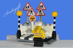 LEGO-city-car-road-signs-zebra-crossing-Belisha-beacons-lollipop-person