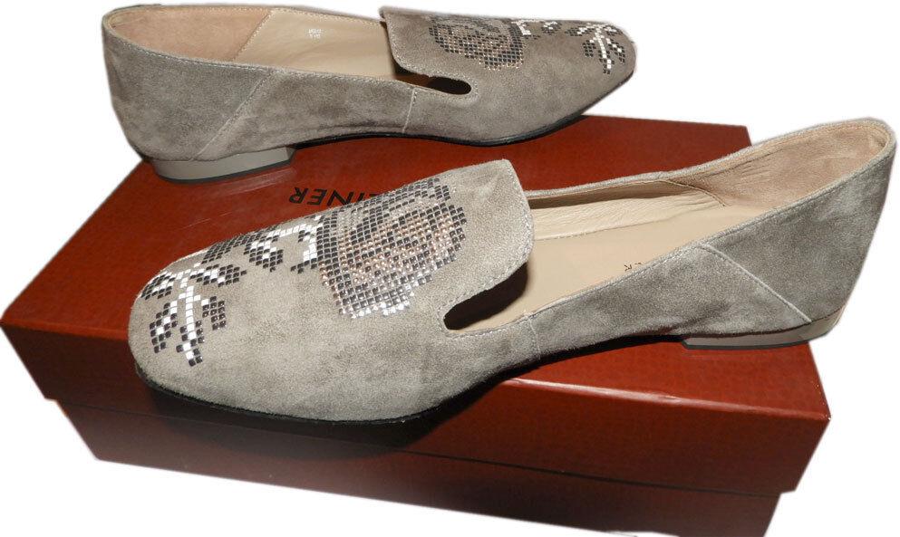 Donald Pliner Suede Floral Embellishment Flats HIRO Loafer Ballet Shoe Shoe Shoe 9.5 e0db22