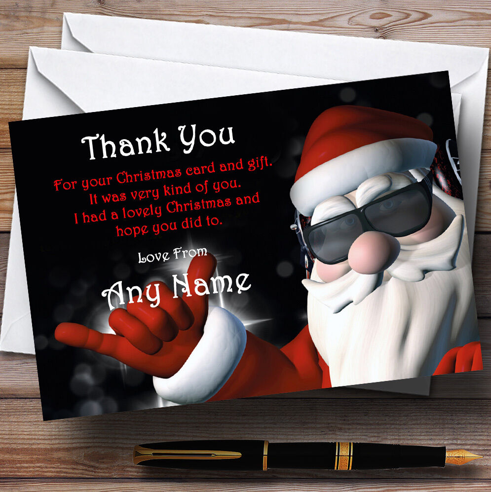 Cool Santa Personalised Christmas Party Thank You Cards