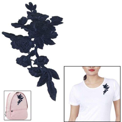5pc Rosa Flor Hojas Bordado de recorte motivo azul marino para la reparación de Falda Jeans