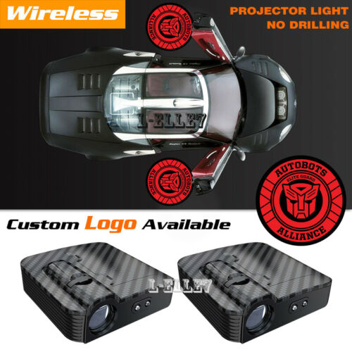 Red Transformers Autobot Logo Wireless Car Door LED Projector Ghost Shadow Light