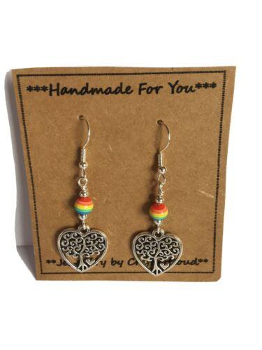 SILVER Tree Of Life Heart Rainbow Earring Pride Secret Santa Xmas Free Gift Wrap