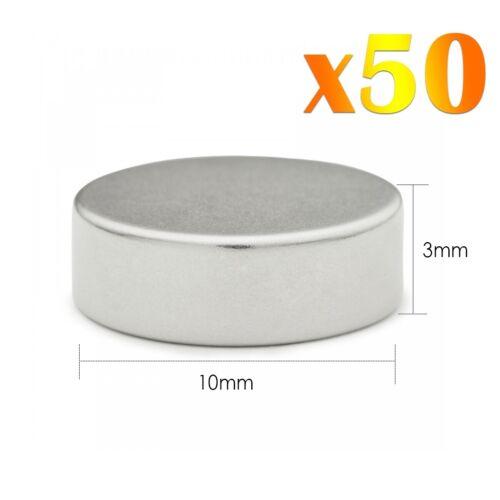 50 x Neodymium Fort Rond Magnets Super Craft Disc Rare Terre NdFeb N35 Grade