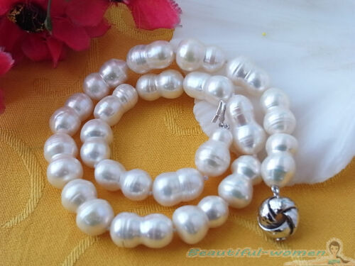 """BW1468 HUGE 17/"""" 20MM WHITE BAROQUE DOUBLE FRESHWATER PEARL NECKLACE"""