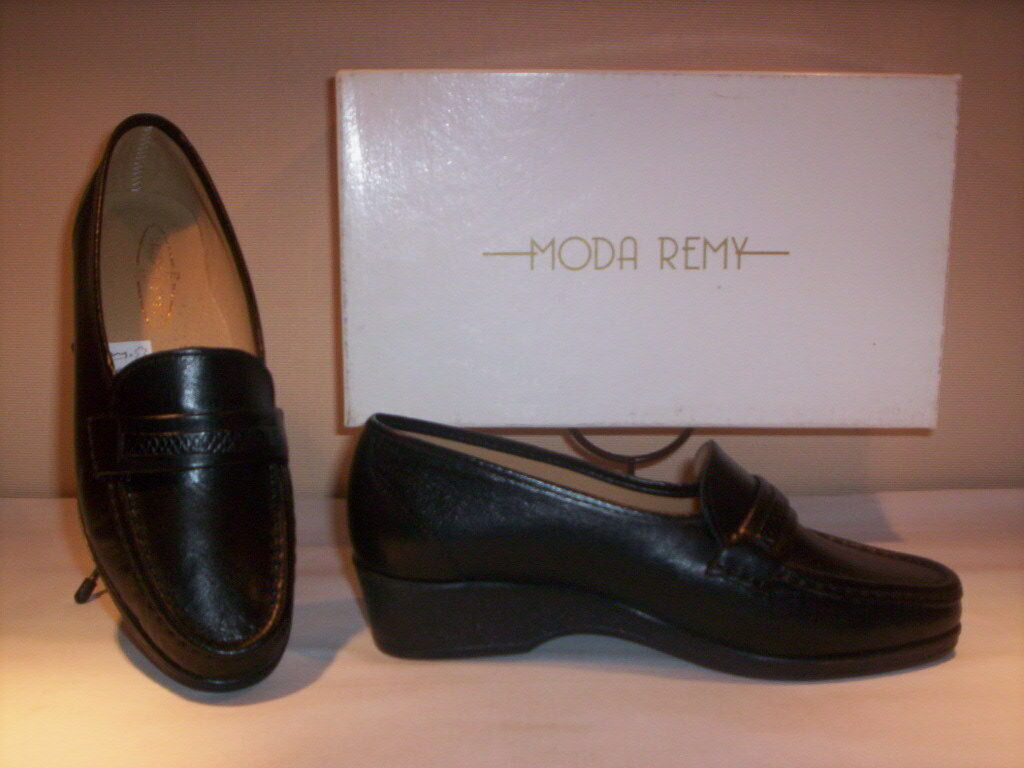 Classic shoes loafers Moda Remy womens shoes casual 37 wedge leather black new 37 casual fece2d