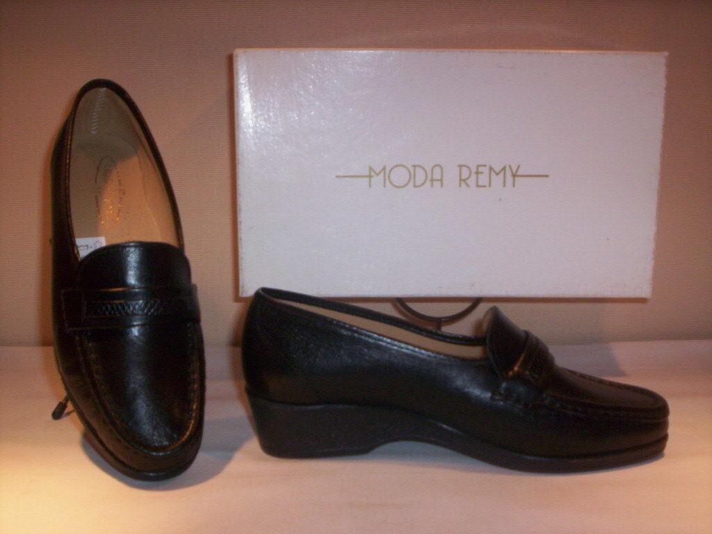 Chaussures Classiques Mocassins Moda Remy pour femmes Casual Compensé Cuir noir