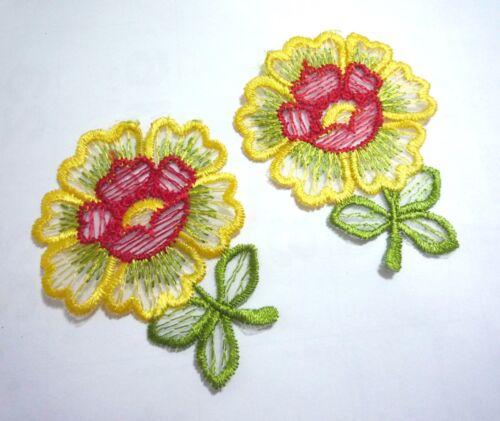 5 pr Sunflower Lemon Yellow Flower Lace Patch motif Appliques  A54 2pr