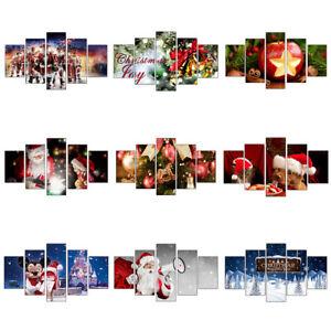 Christmas-Santa-Claus-5PCS-HD-Canvas-Print-Home-Decor-Picture-Wall-Art-Painting