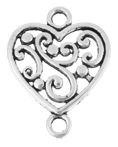 UK 30 ANTIQUE SILVER FILIGREE LOVE HEART CONNECTORS 19x15mm ~ Wish Strings 77H