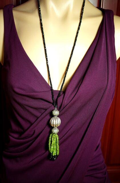 Silver Nat Diamond Black Green Quartz Peridot Statement Sautoir Necklace