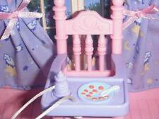 Fisher Price Loving Family Dollhouse Pink Purple High Chair Feeding Bottle Set