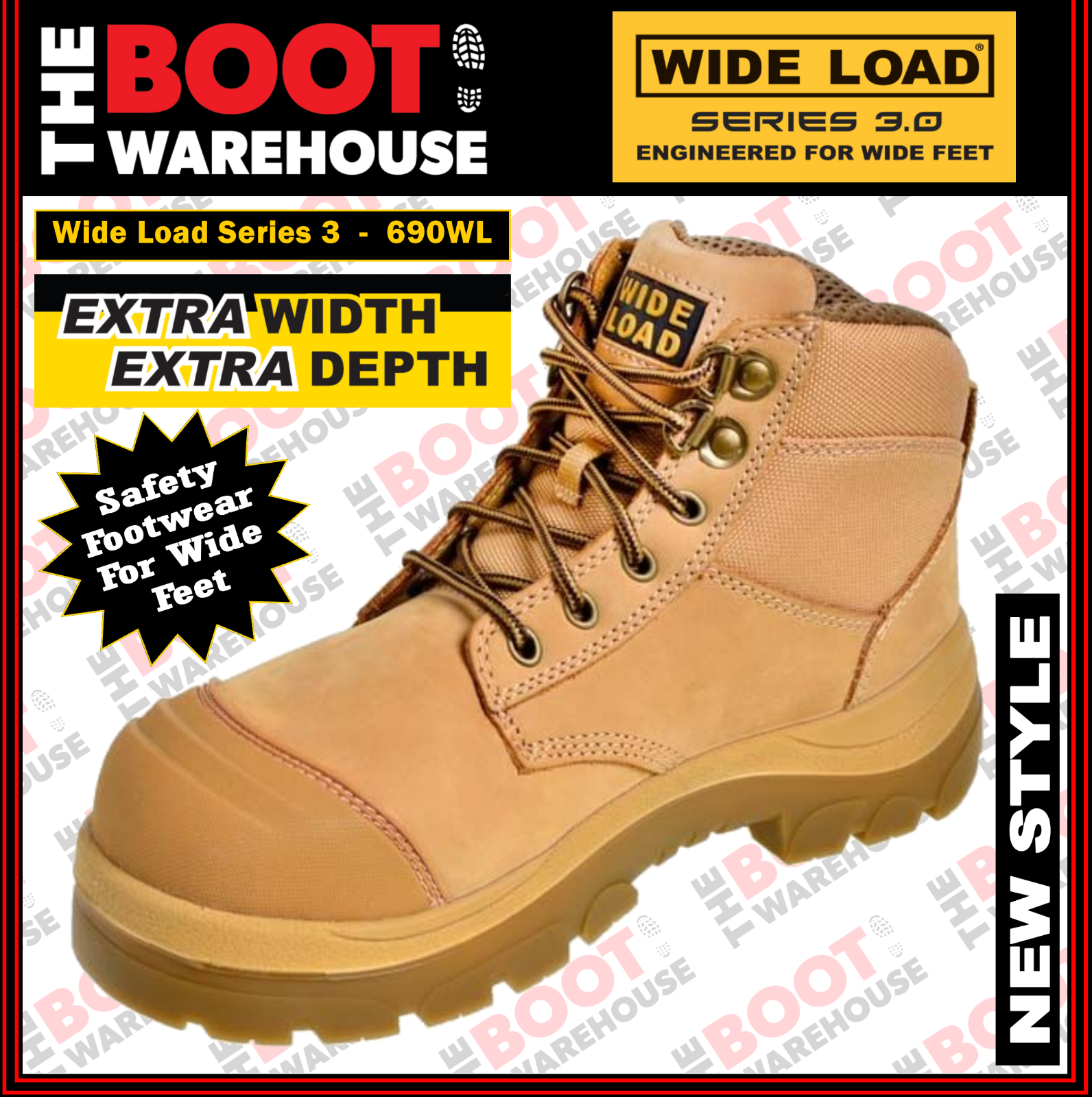 Wide Load Safety Work Stiefel 'S3' 690WL  Extra Wide, Steel Cap, Nubuck, Lace-Up