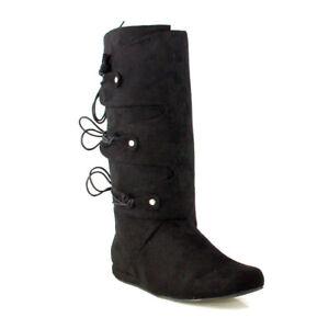 Ellie 111-THOMAS Black Renaissance Moccasin Festival Peter Pan Costume Knee Boot