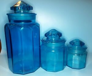 LE-Smith-blue-Glass-Canisters-Apothecary-Jars-set-Vintage-Retro-Mid-Century-60s