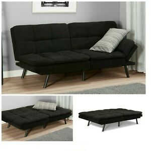 SLEEPER-SOFA-BED-Black-Suede-Convertible-Couch-Modern-Living-Room-Futon-Loveseat