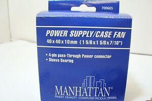 NEW-700665-Manhattan-4-Pin-Molex-Power-Supply-Case-Fan-40x40x10mm-Sleeve-Bearing