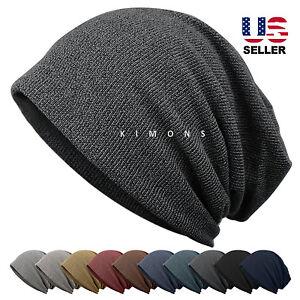 New Stripe Oversize Baggy Beanie Blank Winter Slouchy Hat Cap Skull ... 5fd9601a32f4