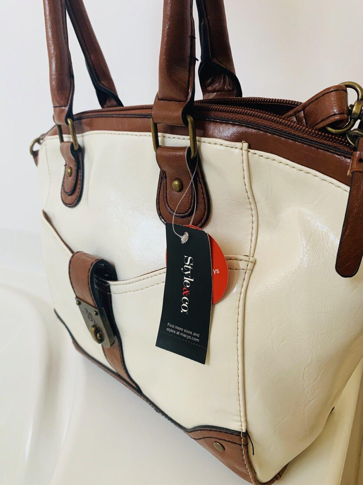 STYLE & Co T Lock Smart Wear Satchel Ivory Brown Handbag New