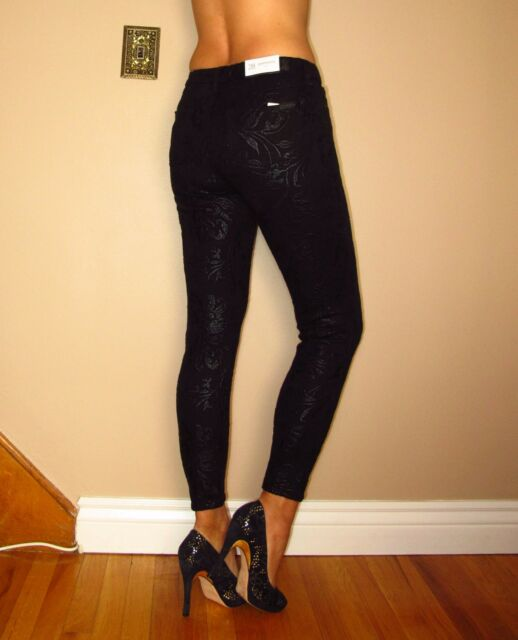 $215 Seven 7 For All Mankind 7FAM Gwenevere Skinny Black Embroidered Jeans 24-30