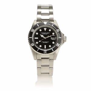 AG-Spalding-amp-Bros-Orologio-da-polso-Diver-GMT-uomo-quadrante-nero-174431U900