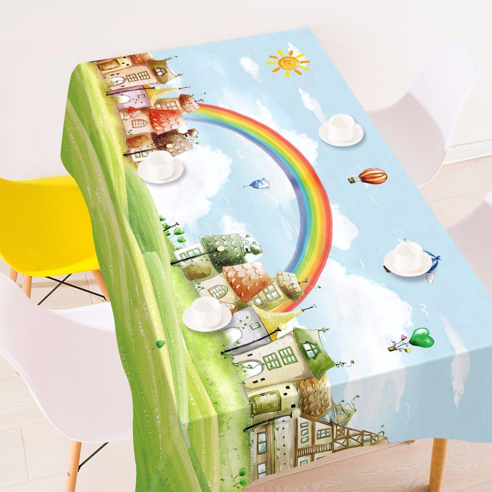 3D Arc-en-Soleil Nappe Table Cover Cloth fête d'anniversaire AJ papier peint Royaume-Uni Citron