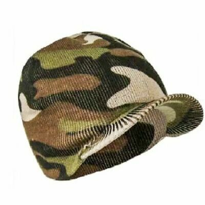 MENS ADULTS CAMOUFLAGE SKULL SKI BEANIE HAT  WITH PEAK CAP ARMY STYLE  WINTER