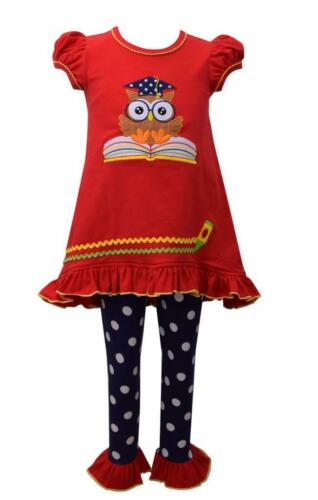 Bonnie Jean Baby Girls Wise Owl Tunic Top and Leggings 2 Pc Set BTS School New