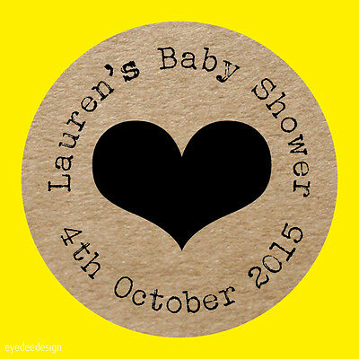 Personalised Shabby Chic Kraft Effect Stickers Baby Shower Christening 582
