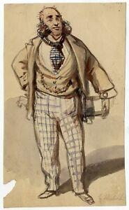 Portrait-Caricature-Famille-Schubert-Dessin-ancien-Aquarelle-XIXe-siecle