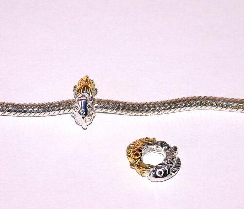 Solido 925 argento Sterling & 18ct Oro Placcato Ciondolo Pesce per Bracciale UK Venditore