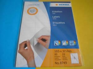 10Bl-80Stk-Herma-Etiketten-weiss-A5-105-x-37-mm-8749-NEU-amp-OVP
