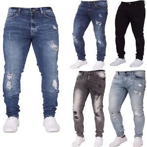 e863a665 Enzo New Man's Stretch Super Skinny Ripped Casual Fashion Denim Jean ...