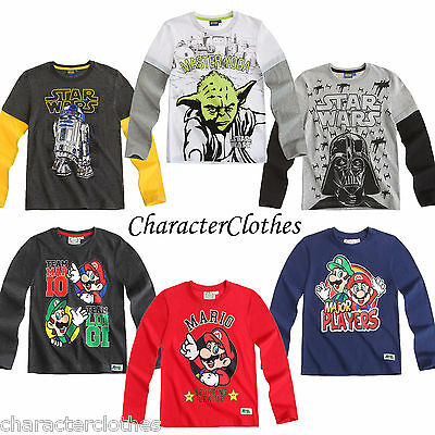New Boys Character STAR WARS/ SUPER MARIO Long Top Kids Cartoon T-shirt Age 3-12