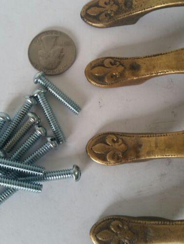 "5 5//8/"" w # P3 pulls Style French Fleur de Lis solid brass handles Vtg 4 Ant"