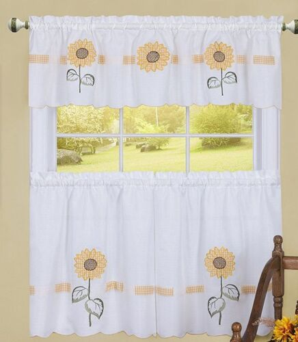 Embellished Curtains Set SUN BLOSSOMS,Achim 3 pc 2 Tiers /& Valance SUNFLOWERS