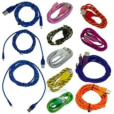 3ft/6ft/10ft Hemp Rope Micro USB Charger Charging Sync Data Cable for Cell Phone