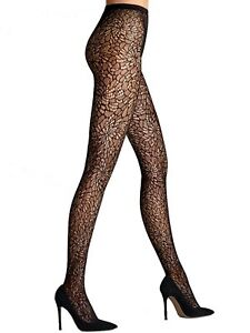 a04b7f930 WOLFORD Lace Black Tights with Swarovski Crystals Sz S Ret  140 New ...