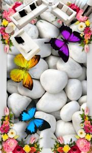 3D Mariposa Piedras Piso impresión de parojo de papel pintado mural 4 5D AJ Wallpaper Reino Unido Limón