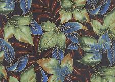 Maple Leaves: Blue/Gold OUTDOOR SPLENDOR from Kona Bay Fabric