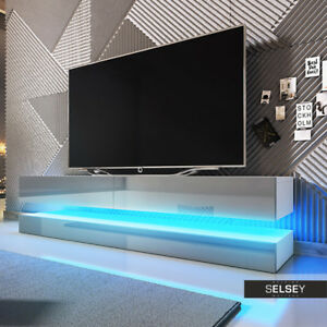 aviator meuble tv suspendu 140 cm led bleue ebay. Black Bedroom Furniture Sets. Home Design Ideas