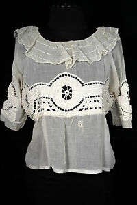 RARE-FRENCH-ANTIQUE-VICTORIAN-EDWARDIAN-ERA-TEA-COLOR-COTTON-LACE-BLOUSE-SIZE-40